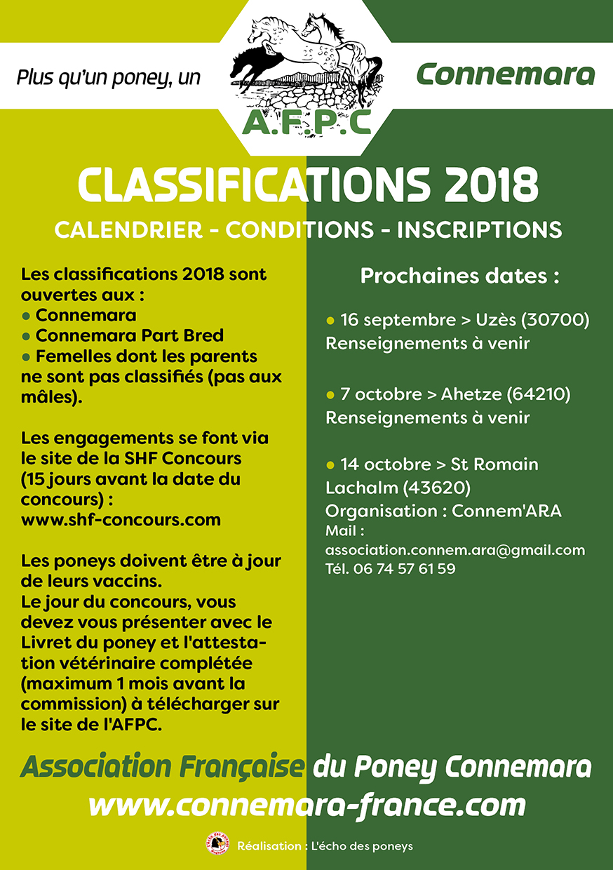Classifications sept & oct 2018